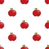 Nahtloses Muster: rote Äpfel auf einem weißen Hintergrund Lizenzfreies Stockfoto