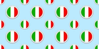 Nahtloses Muster runder Flagge Italiens Italienischer Hintergrund Vektorkreisikonen Geometrische Symbole Masern Sie für Sportseit lizenzfreie abbildung
