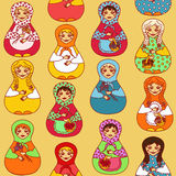 Nahtloses Muster russischen Puppen matrioshka Lizenzfreies Stockbild