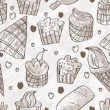 Nahtloses Muster süßes Lebensmittel Doddle Stockbild