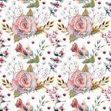 Nahtloses Muster Satz Blumenniederlassungen Rosa stieg Blume, die grünen Blätter, rot Hochzeitskonzept mit Blumen floral stock abbildung