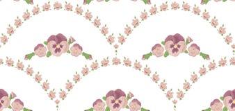 Nahtloses Muster schöne Pansies blüht, weißer Hintergrund, Rosablumenverzierung Stockbild