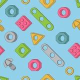 Nahtloses Muster: Schrauben und Nüsse Bau-Hardware: Bolzen, Lizenzfreie Stockbilder