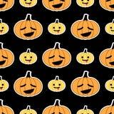 Nahtloses Muster schwarzen Halloween-Kürbises Stockfotos