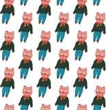 Nahtloses Muster Schweine in einer Strickjacke, in den Jeans und in einem Schal auf einem weißen Hintergrund lizenzfreie abbildung