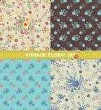 Nahtloses Muster-Set Blumen, Niederlassungen, Beeren Retro- Art Lizenzfreie Stockfotos