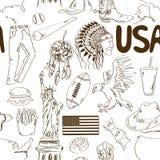 Nahtloses Muster Skizze USA Stockfotografie