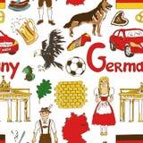 Nahtloses Muster Skizzen-Deutschlands Stockfotografie