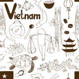 Nahtloses Muster Skizzen-Vietnams Stockbilder