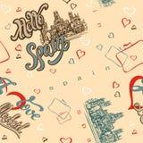 Nahtloses Muster spanien madrid Anspornungsbeschriftung gruß Reise Skizze der Kathedrale Hintergrund mit Herzen Vektor IL stock abbildung