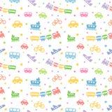 Nahtloses Muster Spielzeug-transportieren Lizenzfreie Stockfotografie