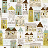 Nahtloses Muster, städtische Landschaft Stockbild