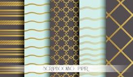 Nahtloses Muster stellte in Gold für scrapbooking Papier ein Weinleseartvektor-Designschablonen Vektor Lizenzfreie Stockfotografie