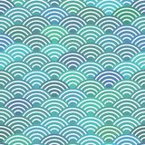 Nahtloses Muster stuft einfache Naturzusammenfassungsbeschaffenheit mit Japanerwellenkreismuster-Pastellfarbblauem Wellenseeozean Lizenzfreie Stockfotos