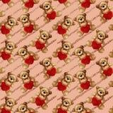 Nahtloses Muster - Teddybär betrifft Funkelnstreifen Lizenzfreie Stockbilder