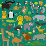 Nahtloses Muster Tier-Afrika-Papagei Hyänen-Nashorn-Zebra-Nilpferd-Krokodil-Schildkröten-Elefantschlangenkamel tsetse Strauß lem Stockfoto