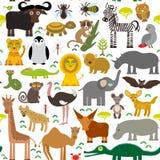 Nahtloses Muster Tier-Afrika-Papagei Hyänen-Nashorn-Zebra-Nilpferd-Krokodil-Schildkröten-Elefantschlangenkamel tsetse Strauß lem Lizenzfreie Stockfotos