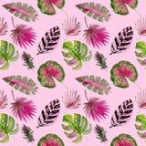 Nahtloses Muster Tropischer Blattaquarellhintergrund Tropischer Blattaquarellhintergrund Blumen-Illustrationen vektor abbildung