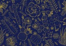 Nahtloses Muster und Blumen des Kaktus Gemütliche nette Elemente Sammlung tropische Succulents und Anlagen im Weinlesegekritzel vektor abbildung