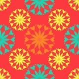 Nahtloses Muster, ungewöhnliche Blumen auf einem roten Hintergrund Stockfoto