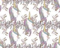 Nahtloses Muster Unicorn Rainbows Lizenzfreies Stockbild