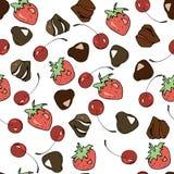 Nahtloses Muster Vektor-Bonbons: Schokoladen, Kirschen, Erdbeeren für die Verzierung von Cafés, verpackende Bonbons und mehr lizenzfreie abbildung
