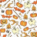 Nahtloses Muster Vektor-Halloweens Farbkürbise lizenzfreie abbildung