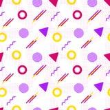 Nahtloses Muster Vektormemphis in der modernen Art Abstrakter Hintergrund mit geometrischen Elementen Muster in der Hippie-Art vektor abbildung