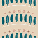 Nahtloses Muster versieht Verzierungs-Landschaft mit Federn Stockfotos