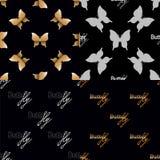 Nahtloses Muster vier mit goldenen Schmetterlingen Lizenzfreies Stockbild
