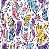 Nahtloses Muster von abstrakten Blättern, von Blumen und von Stellen auf einem weißen Hintergrund lizenzfreie abbildung