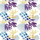 Nahtloses Muster von abstrakten blauen Stellen und von gelben Häkchen Dekoratives Bild einer Flugwesenschwalbe ein Blatt Papier i vektor abbildung