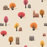 Nahtloses Muster von Bäumen und von Gebäuden im Fall Stockfotografie