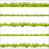 Nahtloses Muster von Bäumen und von Sträuchen Stockfoto