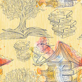 Nahtloses Muster von Büchern Stockbilder