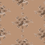 Nahtloses Muster von beige Blumen und von Blättern auf einem tiefen beige Hintergrund watercolor Stockfotografie
