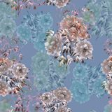 Nahtloses Muster von beige und blauen Blumen von Pfingstrosen auf einem tiefen blauen Hintergrund Ausführliche vektorzeichnung wa lizenzfreie abbildung