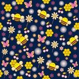 Nahtloses Muster von Bienen und von Blumen Lizenzfreie Stockfotografie