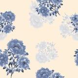 Nahtloses Muster von blauen Blumen von Pfingstrosen auf einem hellen beige Hintergrund Ausführliche vektorzeichnung watercolor stock abbildung