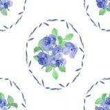 Nahtloses Muster von blauen Blumen und von Grün verlässt in einem ovalen Rahmen auf einem weißen Hintergrund watercolor Lizenzfreie Stockfotografie
