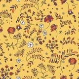 Nahtloses Muster von Blumen, Blätter, Zweige Blumengewebe patch stock abbildung