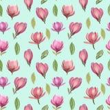Nahtloses Muster von Blumen und von Blättern der Magnolie lizenzfreie abbildung