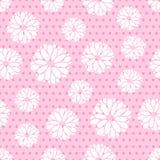 Nahtloses Muster von Blumen und von Punkten Lizenzfreies Stockbild