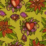 Nahtloses Muster von Blumenblattherzen und Stockfoto