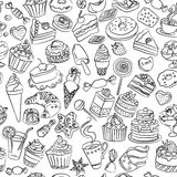 Nahtloses Muster von Bonbons im Vektor Stockfoto