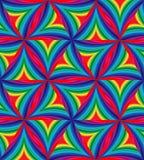 Nahtloses Muster von bunten gestreiften gebogenen Dreiecken Geometrischer abstrakter Hintergrund Stockbilder