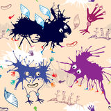 Nahtloses Muster von bunten lustigen Monstern Lizenzfreies Stockbild