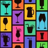 Nahtloses Muster von Cocktails und von Getränken Stockfotos
