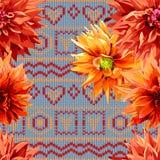 Nahtloses Muster von Dahlienblumen mit horizontalem Stockfoto