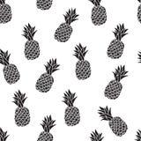 Nahtloses Muster von den Ananas, die Schwarzweiss-Zeichnung auf einem weißen Hintergrund stock abbildung